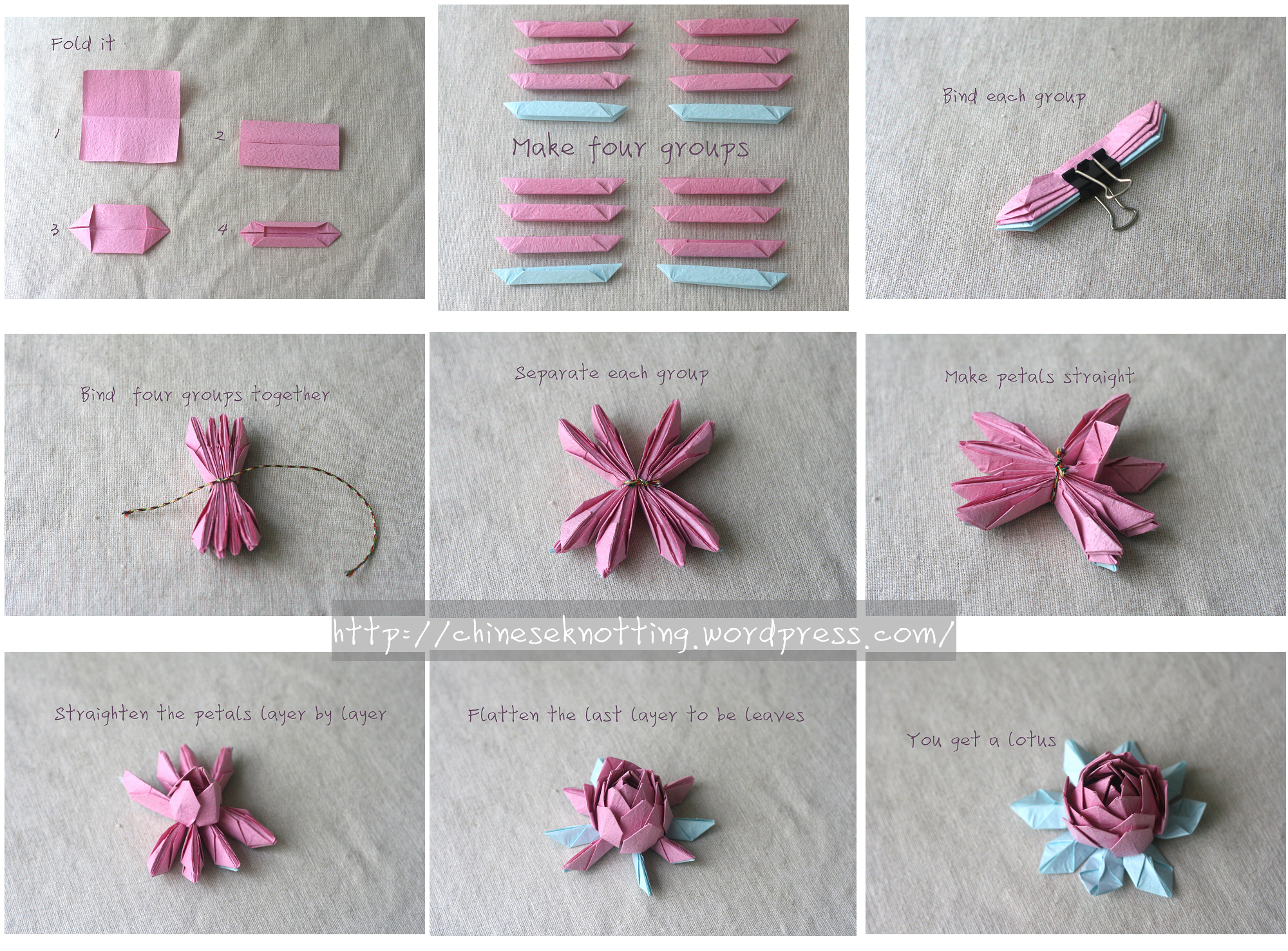 Origami lotus tutorial chineseknotting - Origami paper tutorial ...