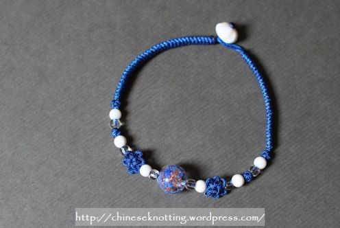 Chinese knot bracelet blue lotus01