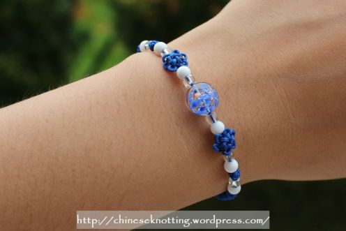 Chinese knot bracelet blue lotus02