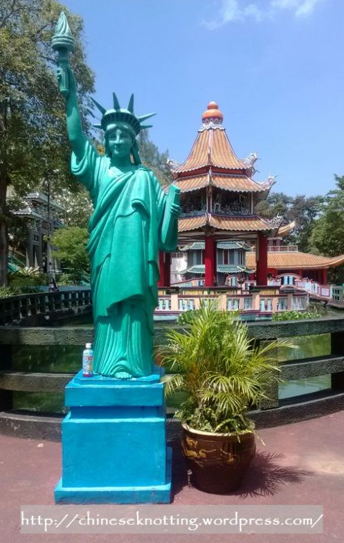 Statue of Liberty and Buddha's Temple